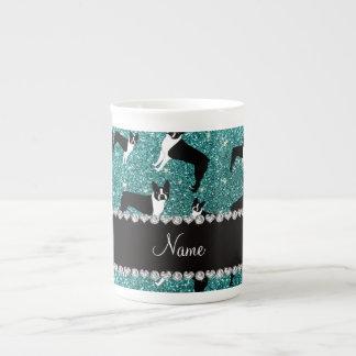 Custom name turquoise glitter boston terrier tea cup