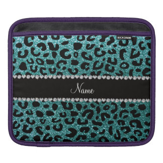 Custom name turquoise glitter cheetah print iPad sleeves