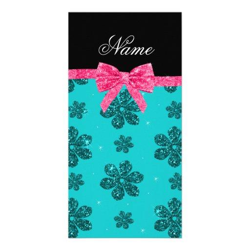 Custom name turquoise glitter flowers pink bow photo card