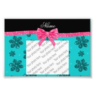 Custom name turquoise glitter flowers pink bow photo print