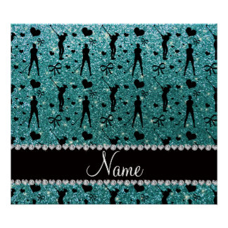 Custom name turquoise glitter golf hearts bows poster