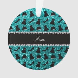 Custom name turquoise glitter high heels dress pur ornament