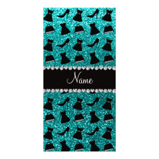 Custom name turquoise glitter high heels dress pur photo card