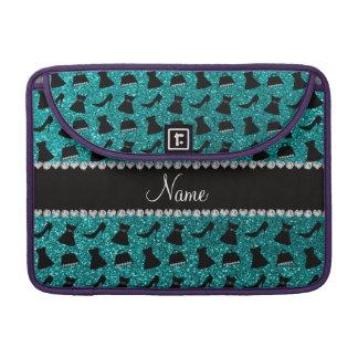 Custom name turquoise glitter high heels dress pur sleeve for MacBooks