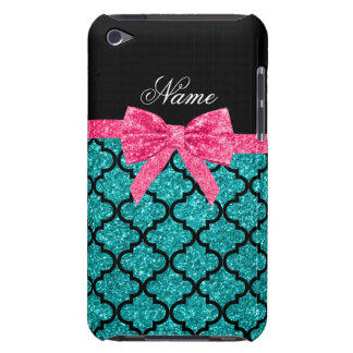 Custom name turquoise glitter moroccan pink bow barely there iPod cover