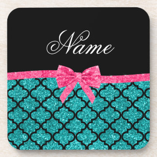 Custom name turquoise glitter moroccan pink bow coaster