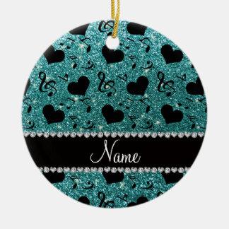 Custom name turquoise glitter music notes hearts ceramic ornament