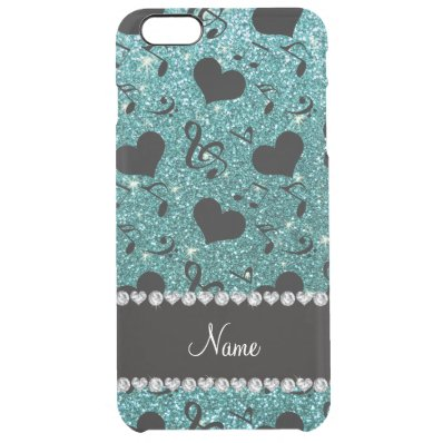Custom name turquoise glitter music notes hearts clear iPhone 6 plus case