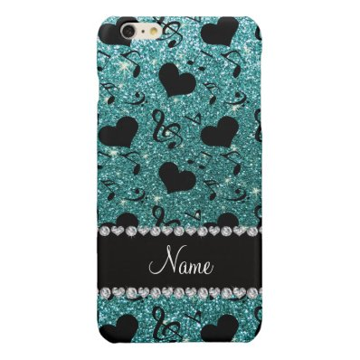 Custom name turquoise glitter music notes hearts glossy iPhone 6 plus case