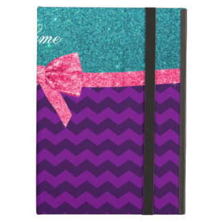 Custom name turquoise glitter purple chevrons bow iPad cases