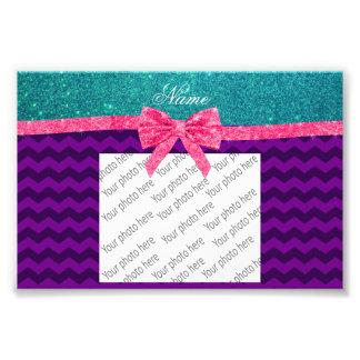 Custom name turquoise glitter purple chevrons bow photo