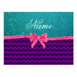 Custom name turquoise glitter purple chevrons bow post cards