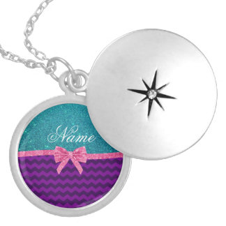 Custom name turquoise glitter purple chevrons bow round locket necklace