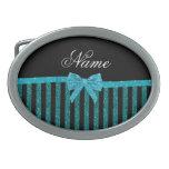 Custom name turquoise glitter stripes bow belt buckles