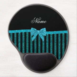 Custom name turquoise glitter stripes bow gel mouse pad