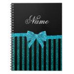 Custom name turquoise glitter stripes bow journal