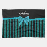 Custom name turquoise glitter stripes bow kitchen towel