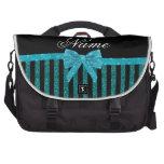 Custom name turquoise glitter stripes bow bags for laptop