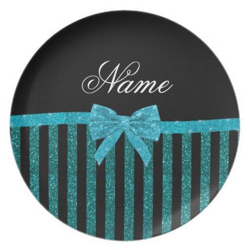 Custom name turquoise glitter stripes bow dinner plate