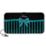 Custom name turquoise glitter stripes bow iPod speakers