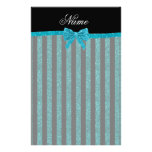 Custom name turquoise glitter stripes bow stationery paper