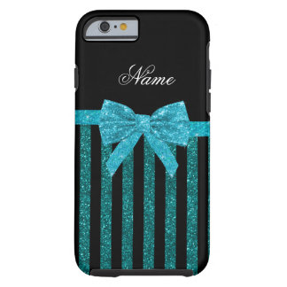 Custom name turquoise glitter stripes bow tough iPhone 6 case