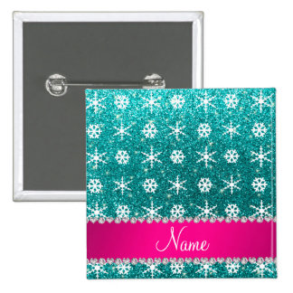 Custom name turquoise glitter white snowflakes 2 inch square button