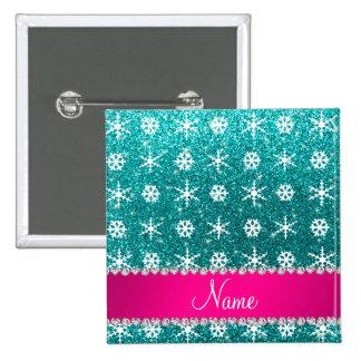 Custom name turquoise glitter white snowflakes pinback buttons