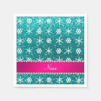 Custom name turquoise glitter white snowflakes paper napkins