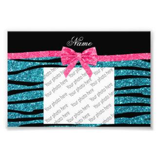 Custom name turquoise glitter zebra stripes bow photo print