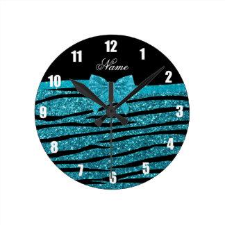 Custom name turquoise glitter zebra stripes bows round clock