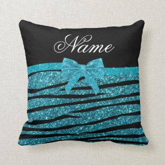 Custom name turquoise glitter zebra stripes bows throw pillow
