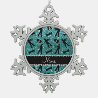 Custom name turquoise glitter zombies snowflake pewter christmas ornament