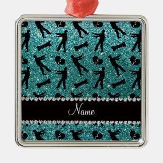 Custom name turquoise glitter zombies square metal christmas ornament