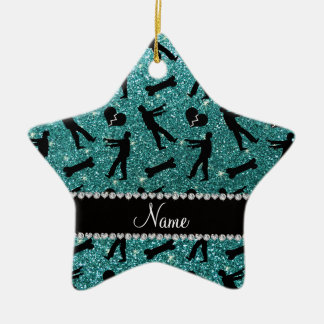 Custom name turquoise glitter zombies Double-Sided star ceramic christmas ornament
