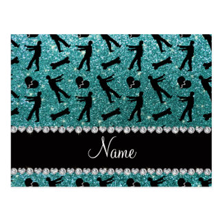 Custom name turquoise glitter zombies post card