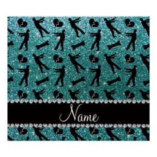 Custom name turquoise glitter zombies print