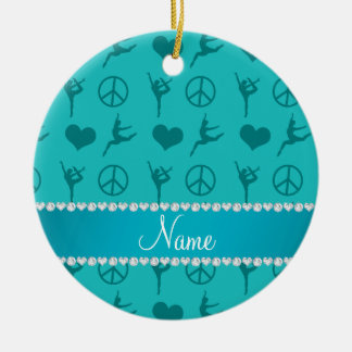 Custom name turquoise gymnastics hearts peace sign ceramic ornament