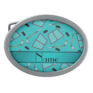 Custom name turquoise hockey sticks pucks nets oval belt buckles