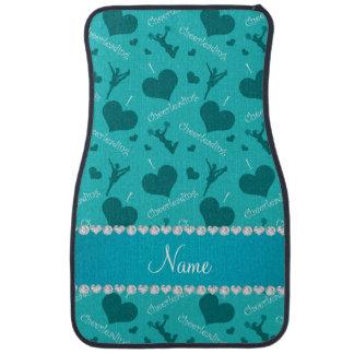 Custom name turquoise i love cheerleading hearts car floor mat