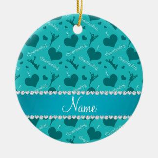 Custom name turquoise i love cheerleading hearts ceramic ornament
