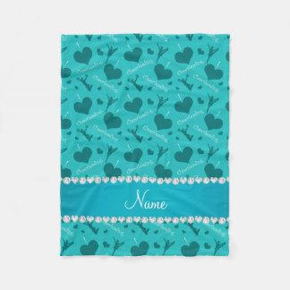 Custom name turquoise i love cheerleading hearts fleece blanket