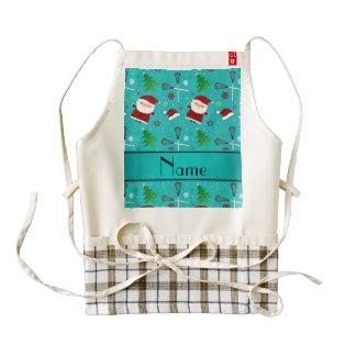 Custom name turquoise lacrosse christmas pattern zazzle HEART apron