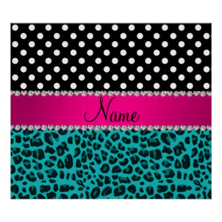 Custom name turquoise leopard black dots poster
