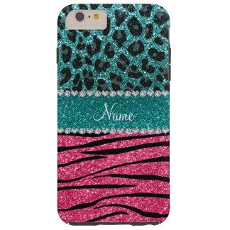 Custom name turquoise leopard pink glitter zebra tough iPhone 6 plus case