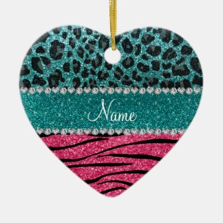 Custom name turquoise leopard pink glitter zebra ceramic ornament