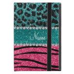 Custom name turquoise leopard pink glitter zebra iPad mini cases