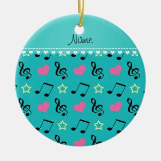 Custom name turquoise music notes hearts stars ceramic ornament