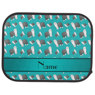 Custom name turquoise Old English Sheepdog dogs Car Mat