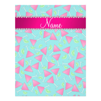 """Custom name turquoise pink cosmos limes 8.5"""" x 11"""" flyer"""